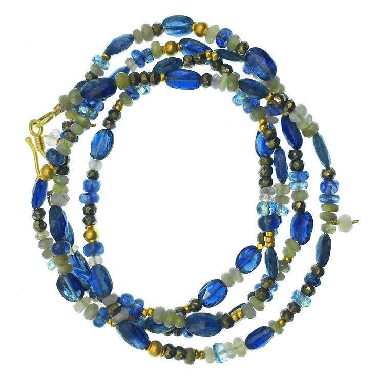 Kyanite, Cat's Eye and 18K Gold Convertible! Long necklace and Multi Wrap Bracelet, all in one!