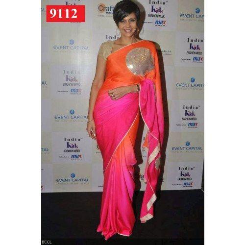 Designer Bollywood Star Mandira Bedi Neon Colors Georgette Sari Saree Lehenga T112