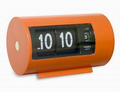 Orange retro alarm clock...