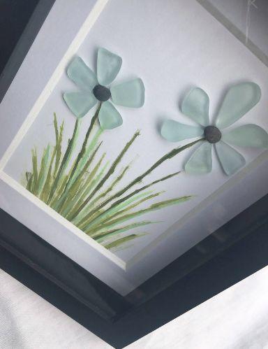 Sea Glass Fame Art DIY, Pebble Art, Sea Glass Flowers #seaglassdiy #diyjewelry