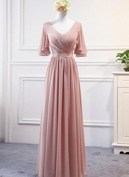 Rosa Chiffon Brautjungfernkleider 2018, Lange Abendkleider, Rosa Partykleider
