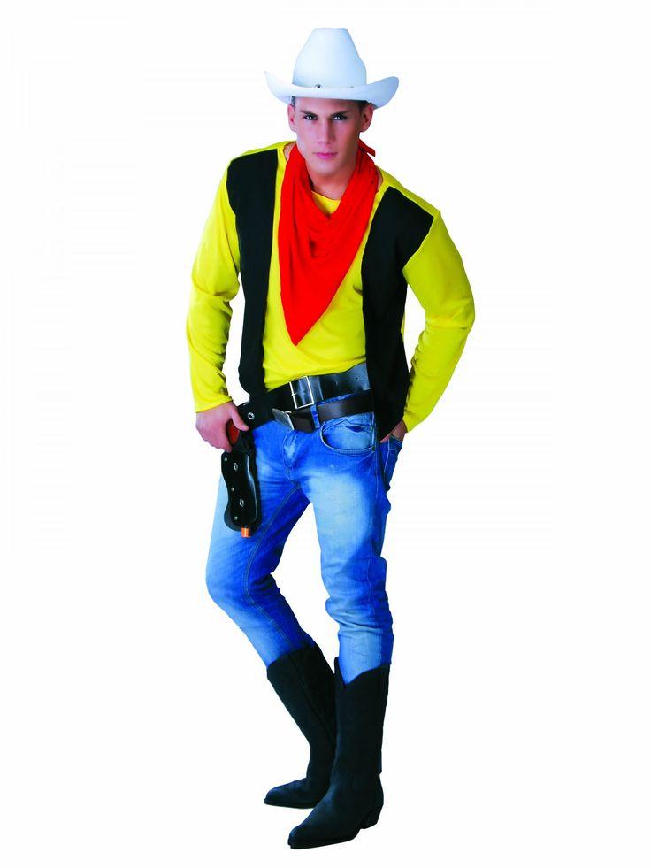 Disfraz tirador del oeste hombre: Este disfraz de tirador del oeste para hombre incluye camiseta y pañuelo (pantalón, cinturón, pistola y sombrero no incluidos).La parte superior representa una camiseta amarilla...