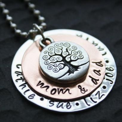 Sterling Silver and Copper Hand Stamped Pendant and Necklace... This necklace would make a great Christmas gift!