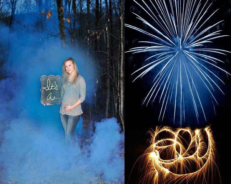 Fireworks, sparklers, and smoke bomb gender reveal !