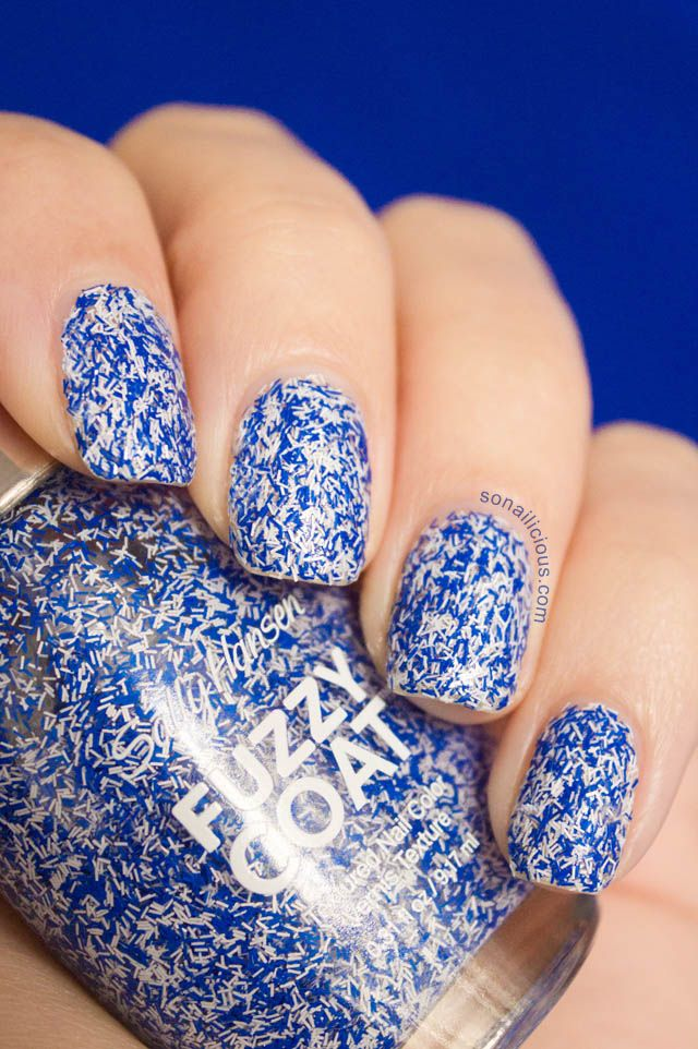 "Blue Nails - ""5 ways to wear Fuzzy Coat"". Click through to see all nail designs. #nailart #sallyhansen"