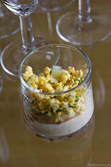Voor 12 hapjes: 500 g witte asperges 250 g grijze garna …