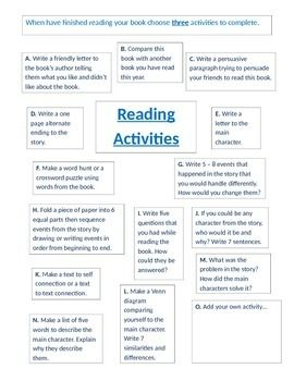 Middle School Reading Activities