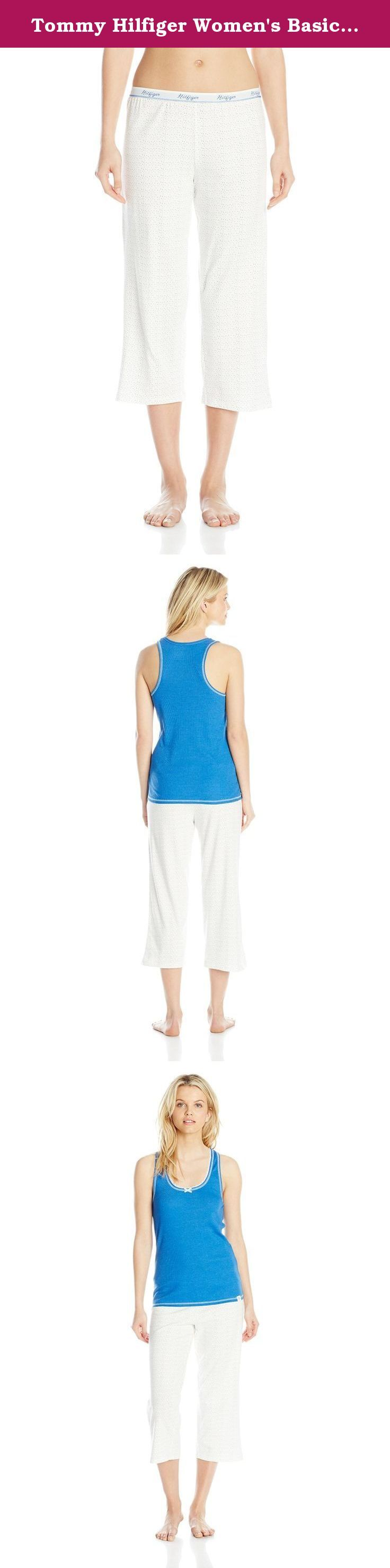 Tommy Hilfiger Women's Basic Logo Capri and Lace Cami Set, Nautical Blue/Nautical Bubbles, Medium. This classic Tommy Hilfiger rib tank and logo pajama capri is perfect for lounging around in.