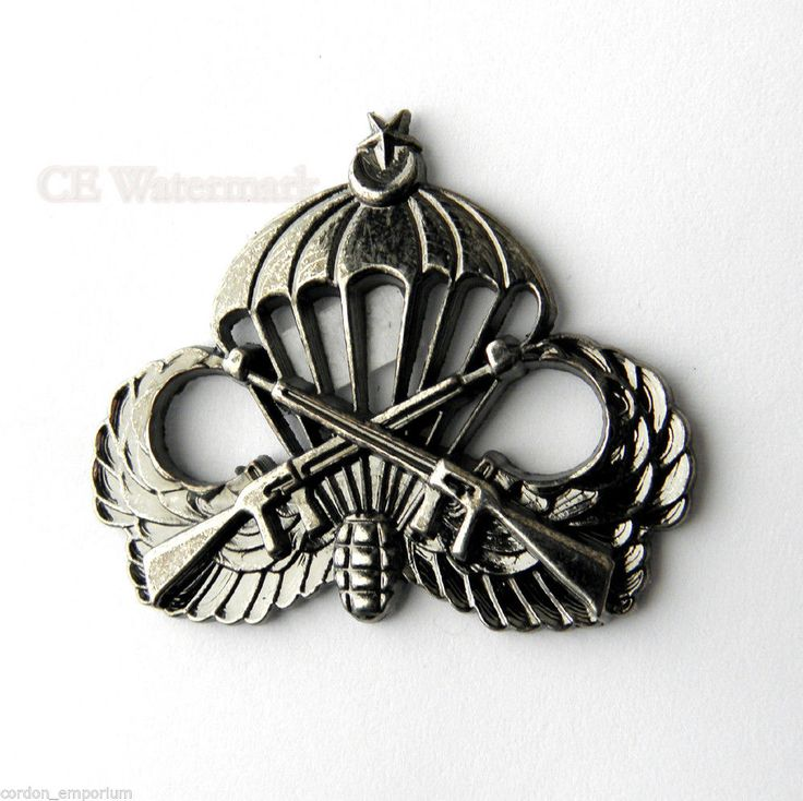 TURKEY PARATROOPER LARGE JUMP WINGS TURKISH LAPEL PIN 1.75 INCHES