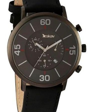SKAV Dutch Design chronograph watch with carbonized steel case and sapphire glas with 75% discount. www.megawatchoutlet.com
