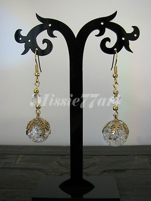 Gold plate Grecian Leaf earrings with glass beads & surgical steel earwires $24.95