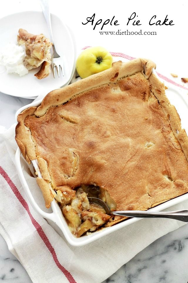 Apple Pie Cake | www.diethood.com | A lightened-up pie crust filled with a decadent apple mixture and topped with a soft and sweet cake batter. | #applepie #recipe #cake