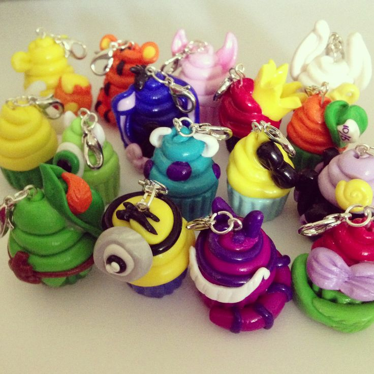 Polymer clay disney cupcakes