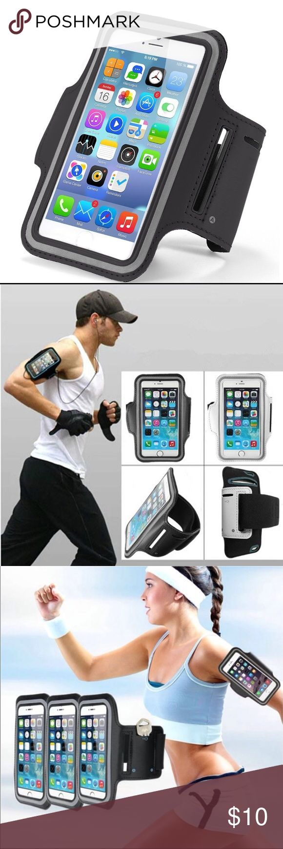 i7+/6+/6s+ High quality gym and sport armband case i7+/6+/6s+ High quality gym and sport armband case Listing is Durable water-proof, sweat-proof Sport and Gym Armband case for iPhone 7 Plus & 6 plus  & 6s Plus   This is unisex sport accessory for Women & Men indoor Gym and Outdoor sport smart phone Case holder.  High quality Nylon Bag Cover Holder specially for iPhone 7 Plus and 6 Plus and 6s Plus  Fashion color Designed for your convenience. Color: Black  Order will ship within 24 hours…