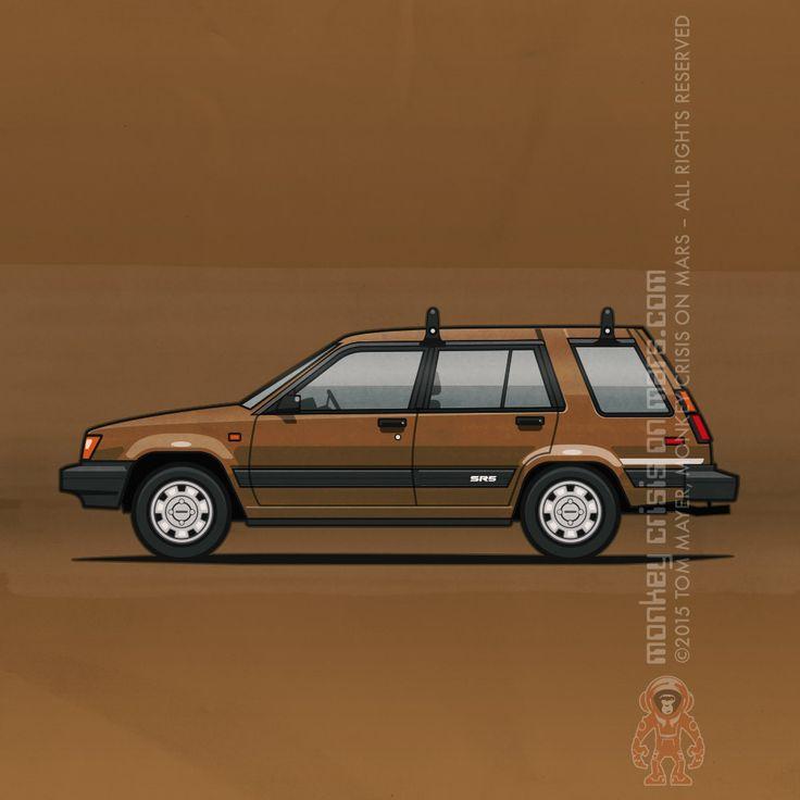 Toyota Tercel WagonSR5 4WD (1984) – Car Art by Monkey Crisis On Mars #Toyota #RetroRide #Bronze #Wagon #80s