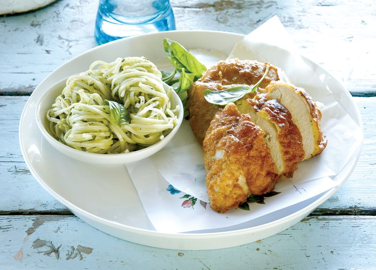 Parmesan crusted chicken breast with pesto pasta