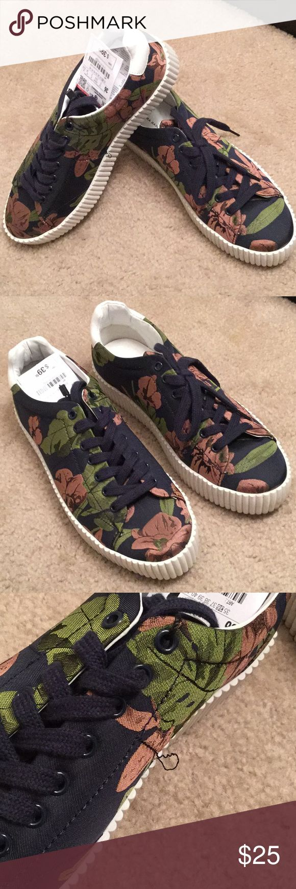 Zara Basic Collection Floral Sneakers - 6 Zara Basic Collection Floral Sneakers - 6. EURO 36 / UK 3 / BR 34 / MEX 23.5. Navy with rose and green floral design. Small seam out on inner right shoe (see last picture) Zara Shoes