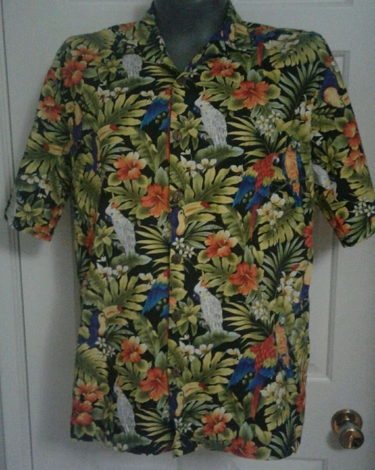 Men s Hilo Hattie Green & Black Toucans Cockatiels Flora Hawaiian Shirt Size XL | eBay