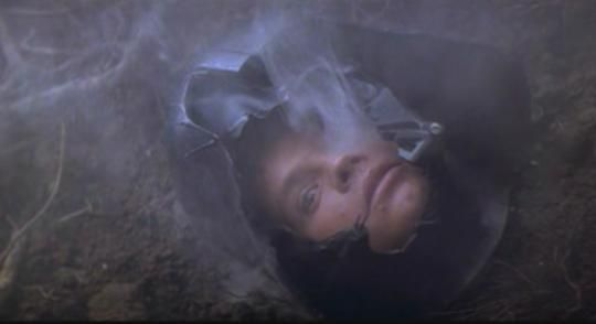 A screen capture of Luke Skywalker's head in the Darth Vader helmet from 'The Empire Strikes Back'