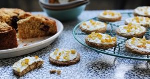 Recipes for white chocolate honey oat biscuits and blackberry oat crumble cake