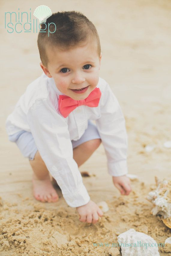 Child Boys Toddler Coral Bow Tie Children Bow Tie by MiniScallop