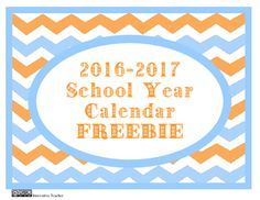 Be organized and ready for the 2016-2017 school year with this FREE calendar. Includes U.S. major holidays and a section for personal notes.
