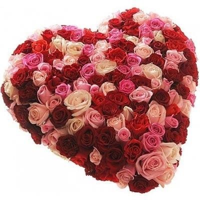 Сердце из разноцветных роз с бесплатной доставкой по Москве. Композиция на биофлоре. http://www.dostavka-tsvetov.com/osobye-bukety/rozi-izabella