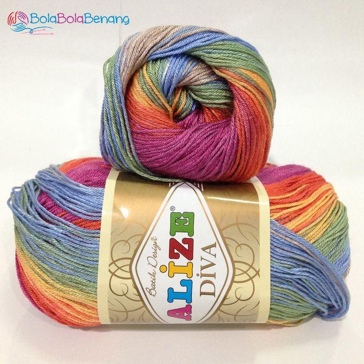 ALIZE DIVA BATIK 3242, Price: 90.000,-/gulung, Bahan: 100% Microfiber Akrilik, Berat/Panjang: 100gr/350m, Knitting Needles: 2,5mm – 3,5mm, Crochet Hook: 1mm - 3mm