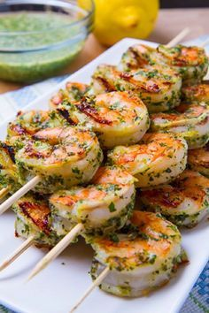 Easy & Delicious Pesto Grilled Shrimp by closetcooking via alltopfood #Shrimp #Pesto #Quick