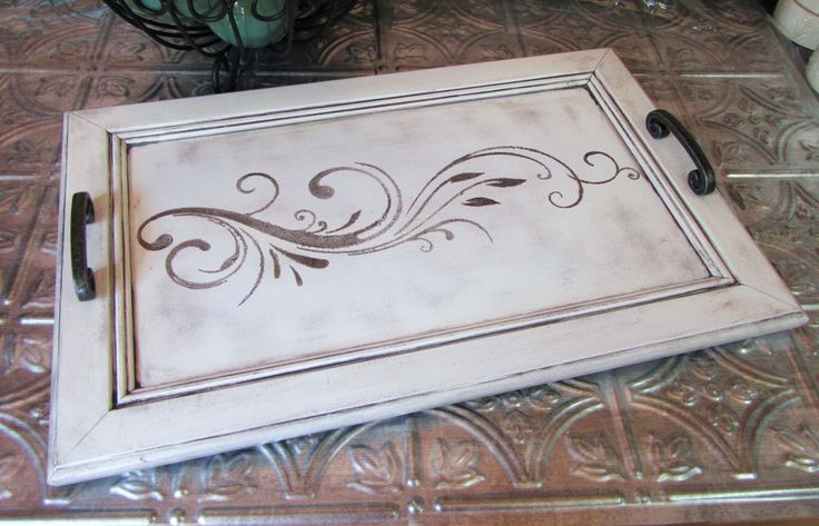 Chic SERVING TRAY from Upcycled Cabinet Door - Black and White Lily - Perfect Hostess Gift / READY TO SHIP