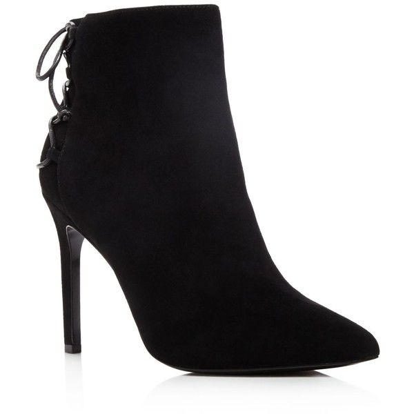 Charles David Catherine Pointed Toe High Heel Booties (985 BRL) ❤ liked on Polyvore featuring shoes, boots, ankle booties, heels, ankle boots, botas, leather ankle boots, lace-up bootie, laced up ankle boots and black laced booties