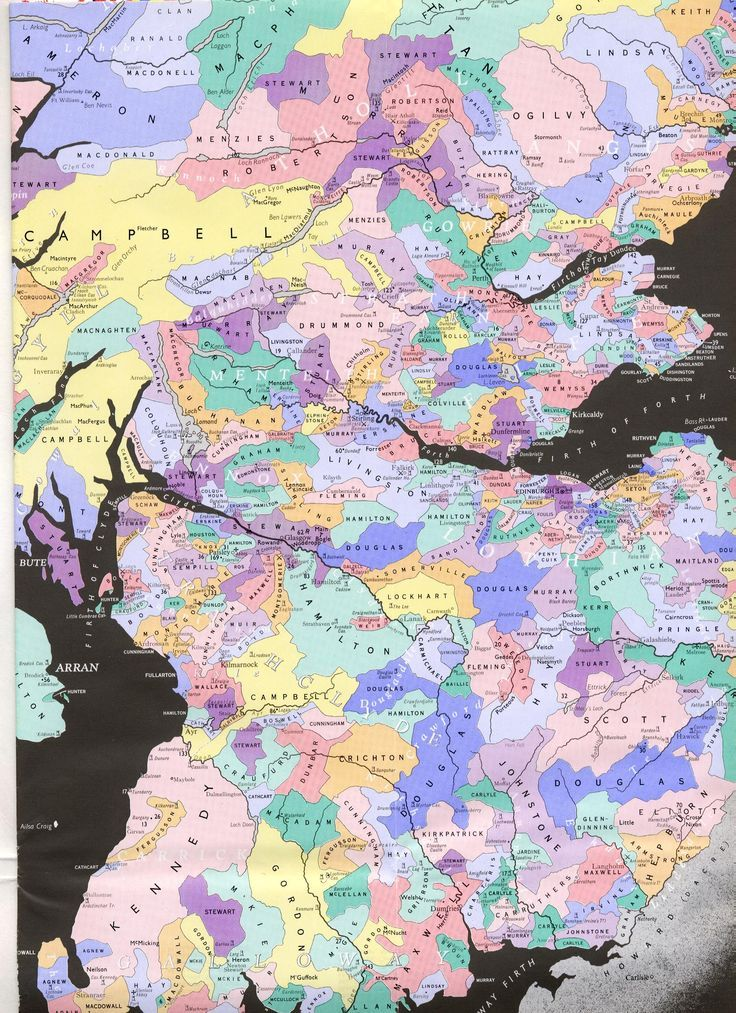 Map Of Paisley%0A Scottish Clans Map  Purple is Stewarts