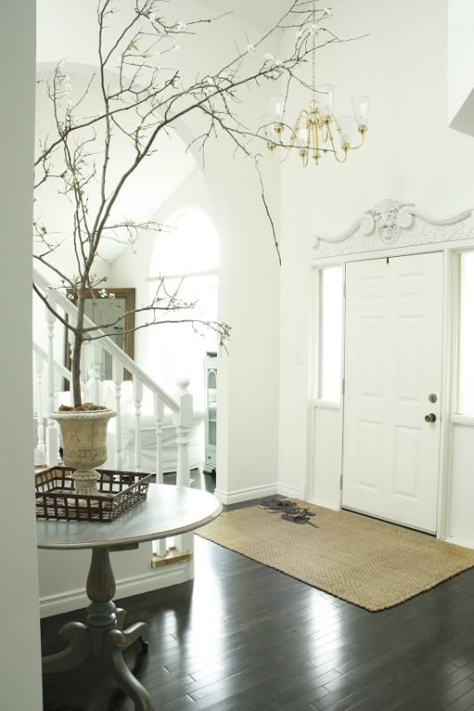 White With Wood Floors @Kristine Frybarger Round Table Would Look Better In  Round Entryway Space