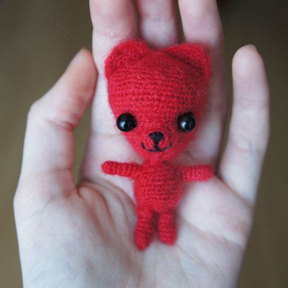 Tiny Red Teddy Bear Charlie #amigurumi #crochet # от Khanolainen на Etsy