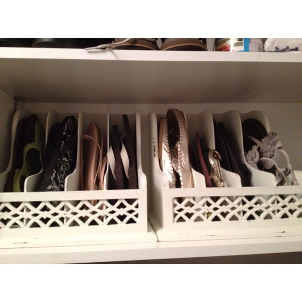 for flip flops: use letter organizers in your closet. OMG this is brilliant. It will save so much space.