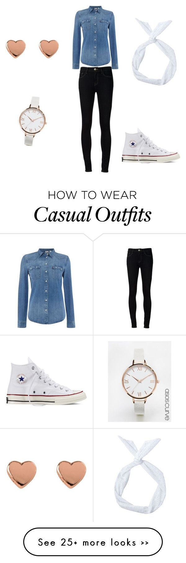 """""""Denim casual"""" by abearstyle on Polyvore featuring Levi's, Ström, ASOS Curve, Ted Baker and Converse"""