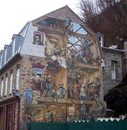 Amazing wall painting in old quebec city canada things for Mural quebec city