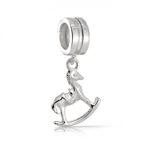 Bling Jewelry Dangle Rocking Horse 925 Sterling Silver Charm Pandora Compatible