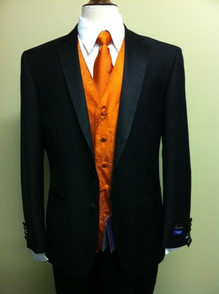 Mens black tuxedo w orange paisley vest free shirt for Black tuxedo shirt for men