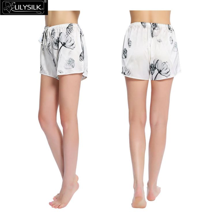 Lilysilk Sleep Shorts Silk Pajama Pants Home Women Lotus Pattern Handmade Soft Luxury Nightwear Lounge Elastic White Bottoms