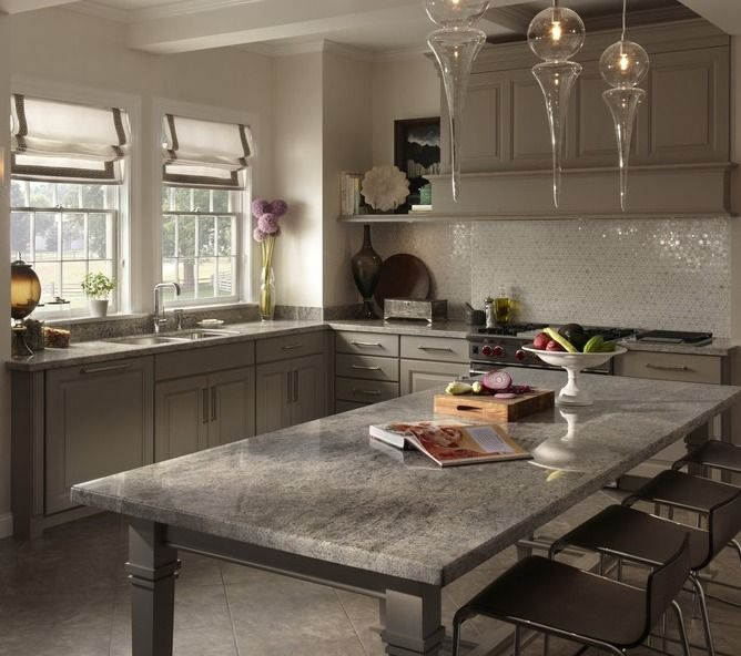 get a fresh contemporary look in the kitchen with natural gray granite countertops - Lowes Kitchen Design Ideas