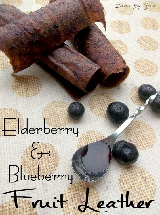 Elderberry Blueberry Fruit Leather recipe for giving yourself or your kids an antioxidant boost. Easy to make fruit leather recipe using elderberry syrup.