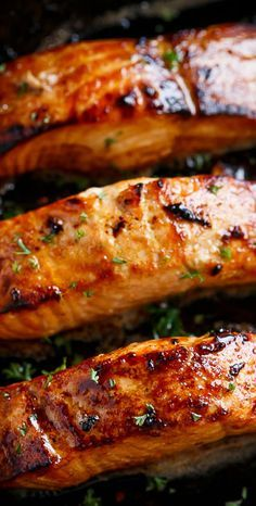 Salmon steaks panfried on Browned Butter infused with garlic and honey;
