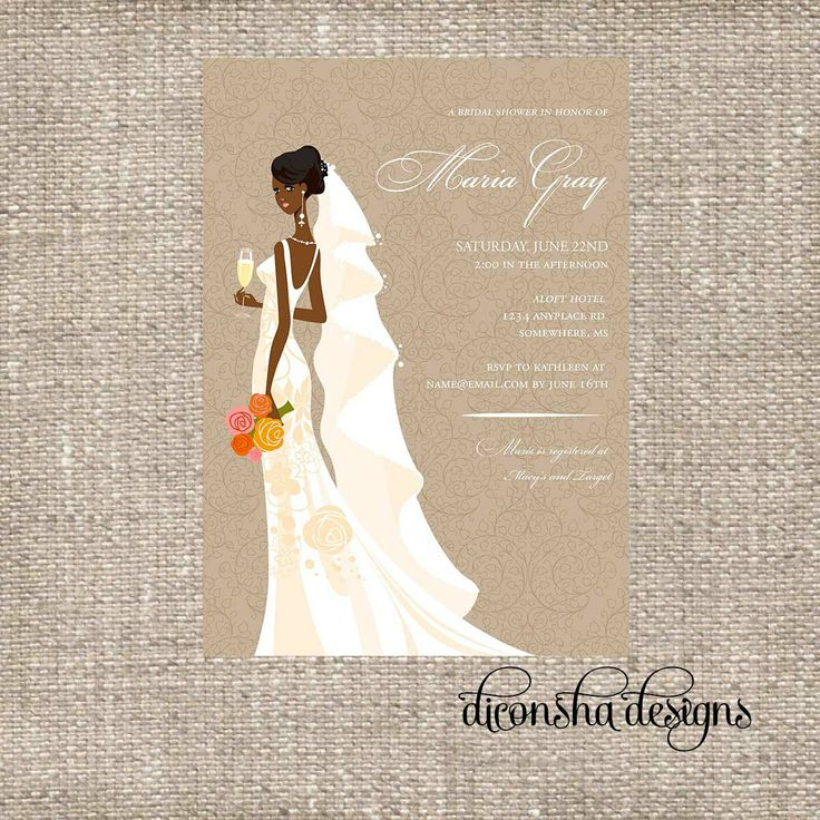 recipe themed bridal shower invitation wording%0A Elegant African American Bridal Shower Invitation  African American