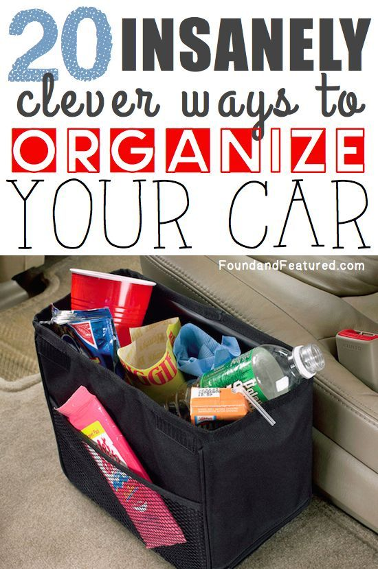20 Insanely Clever Ways To Organize Your Car -- LOVE these!