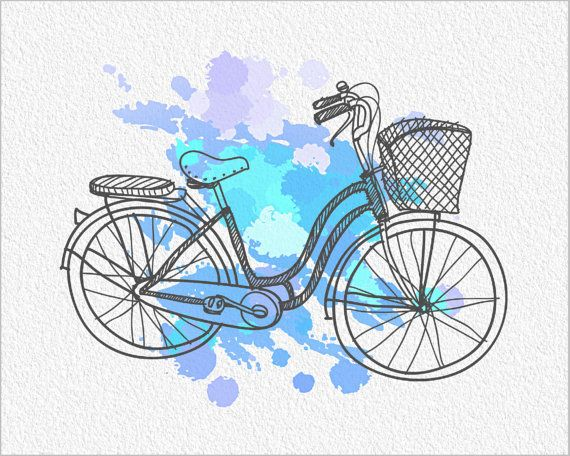 BICYCLE Watercolor Painting Art Print 5 x 7 Ladies Bike with Basket Archival Print Wall Decor Home, Office, Childrens Room or Gift on Etsy, $15.00  - http://www.wocycling.com