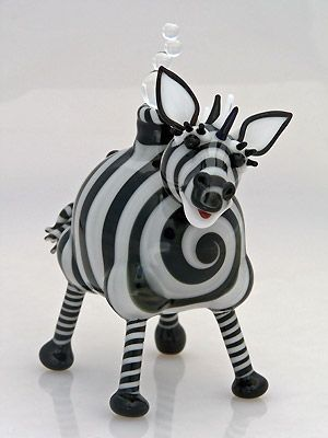 "'Z is for Zebra' Lampwork Mini Art-Glass Perfume Bottle | D's: 3.5"" x 2.5"" by Nancy Nagel ★≻❤≺★"