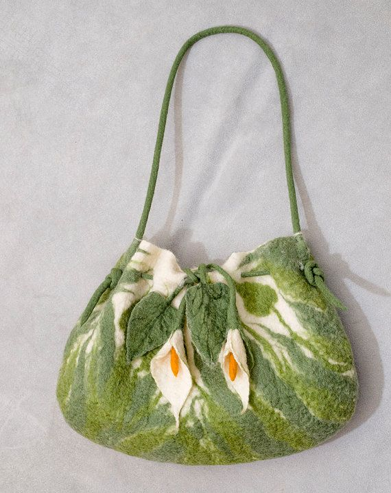Calla Lillies Felt Purse. Felted wool, floral pattern.