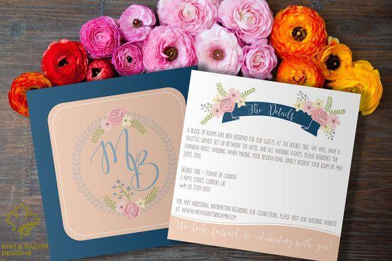 Interracial Indian Wedding Invitation Suite Boho by KiwiAndBacon #bicultural #biracial #mixedrace #interracial #intercultural #floral #flowers #vintage #sikh #punjabi #gujarati #southindian #southasian #bridalshower #babyshower #party #anniversary