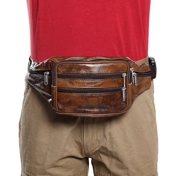 Men Genuine Leather Waist Bag Vintage Cycling Chest Bag Big Capacity Crossbody B - US$20.32